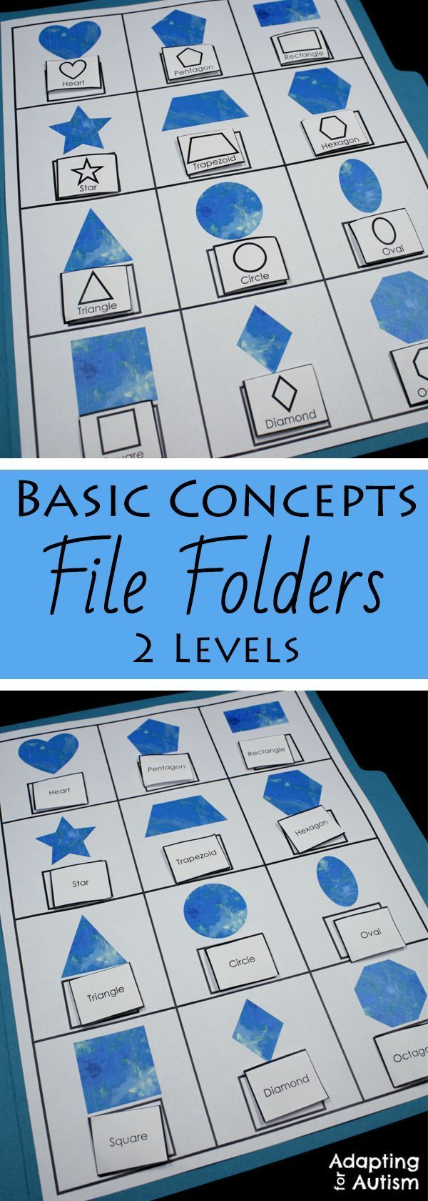 This file folder activity pack is full of basic concepts practice for your special education or speech therapy students. Includes 10 concepts and 2 levels each including many visual supports for your students with autism.