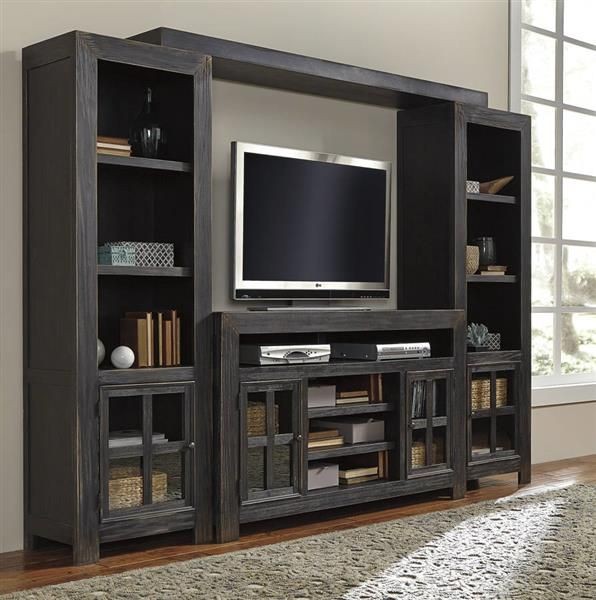 Gavelston Vintage Casual Black Entertainment Center