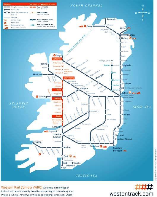 Rail Map Of Ireland.Irish Rail Map 2010 Grannymar Travel Map Celebrity Cruise