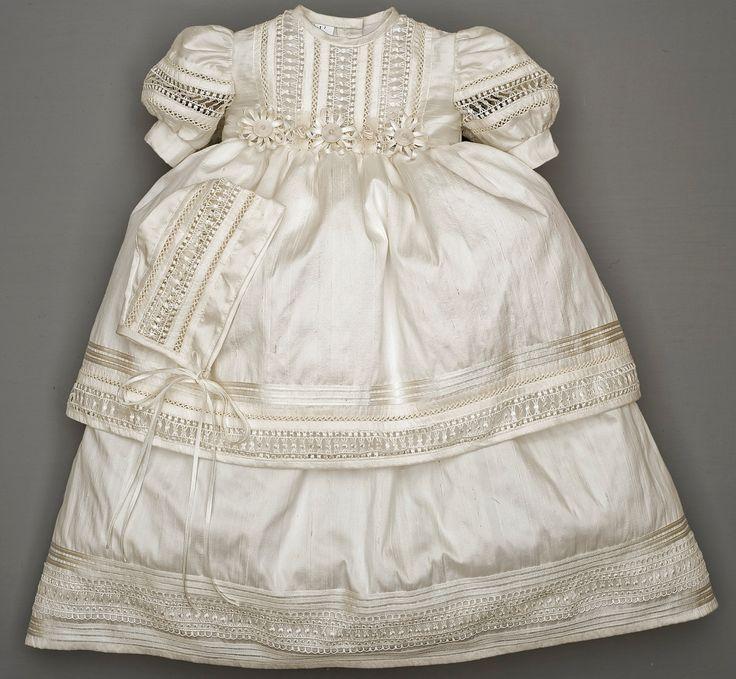 Elegant Baby Girl Christening Baptism dress, HandMade, Silk Ivory or White…
