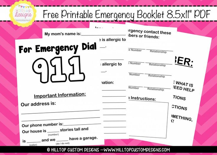 FREE Printable 911 Emergency Booklet for Children (of reading age). Make sure you're prepared!!! Get this free printable, fill it out, and go over it with your family. Keep it in a safe place in case of emergencies. EVERY family needs one!