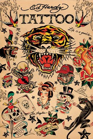 Ed Hardy tattoos. BEFORE the cheesy and icky clothing line.
