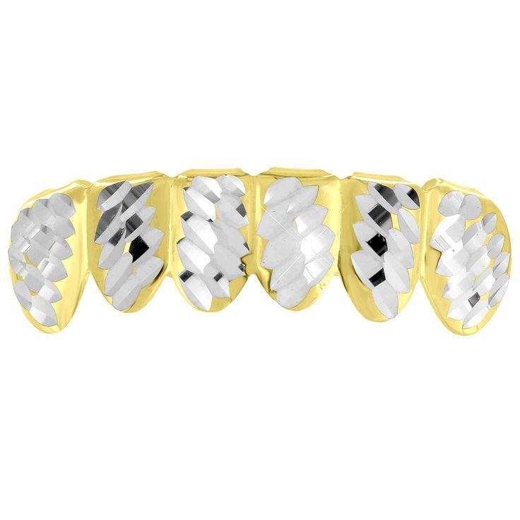 Yellow Gold finish Diamond Cut Grillz