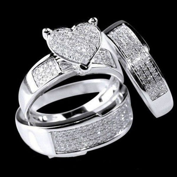3 Pieces Set Of Super Beautiful Heart Shaped Ring Jewelry