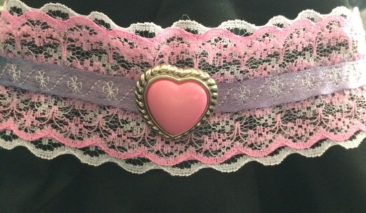CathyRoseAndDaughter Pink and white lace lolita choker necklace.