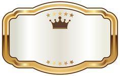 Белые этикетки с золотой короной PNG клипарт изображения