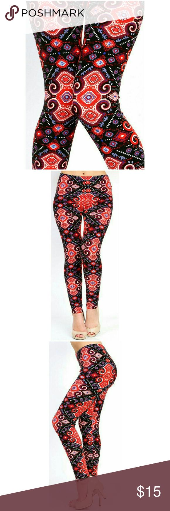 "Coming Soon (Plus) Curvy Tribal Print Leggings Peachskin print full leggings. Tribal black and Fred abstract  print. Highwaisted with 1"" Wide elastic waistband. Very soft. Great to wear dressed up with heels or casual with tennies. New in package. L 37"" I 27"" R 10. Fits XL to 2X (14-22) comfortably. One size BohoBeauRoseBoutique Pants Leggings"