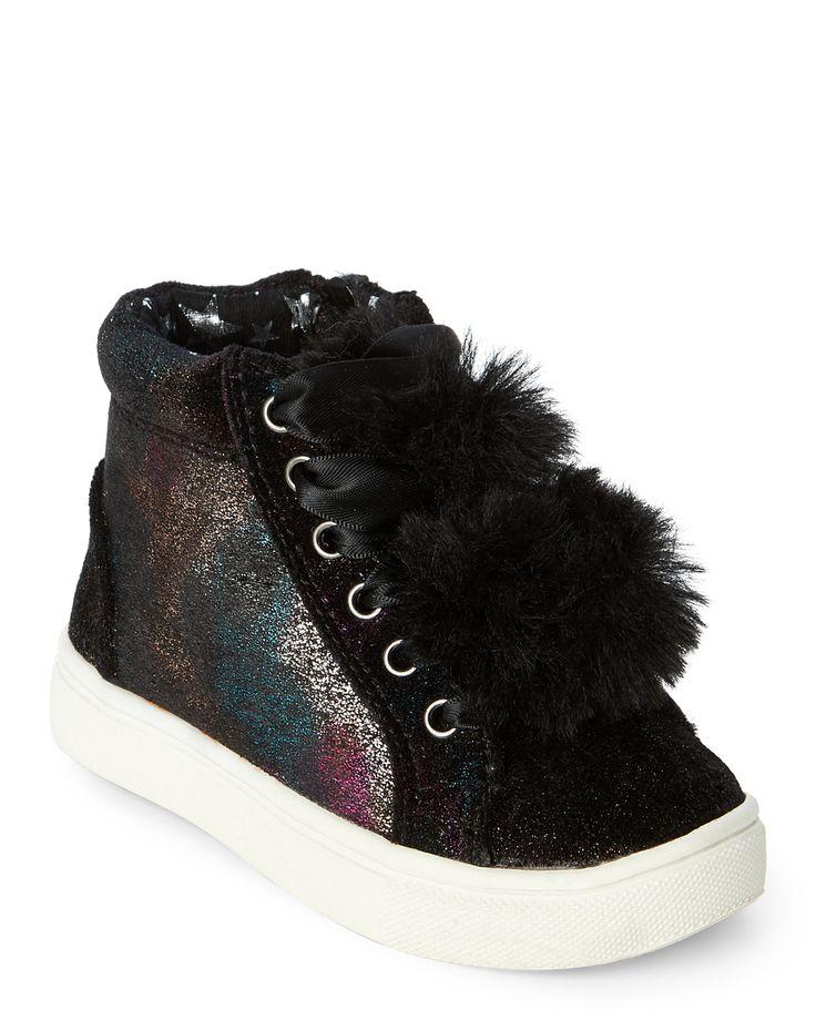 (Kids Girls) Black JBrielle Pom-Pom High-Top Sneakers. Steve Madden ...