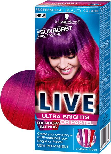 Get rainbow hair with Schwarzkopf LIVE Colour, with three vibrant shades in each pack for dreamy rainbow hair