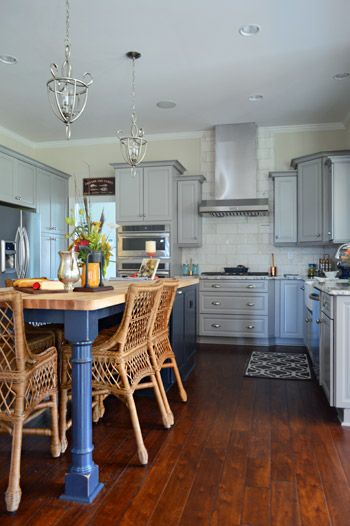 these colors!! Love different island color and counter top light gray