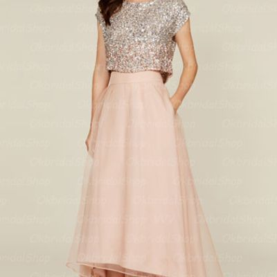 J225 2 pieces bridesmaid dresses, short sleeve blush pink bridesmaid dresses, organza bridesmaid dresses, sequin rhinestone bridesmaid dresses