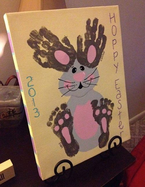 Hand and footprint bunny art - cute! Do it on a canvas and display it year after year.