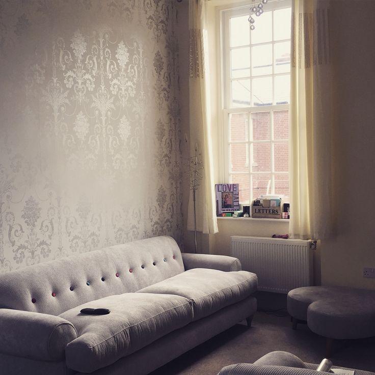 Laura Ashley Josette Wallpaper In Silver Glitter