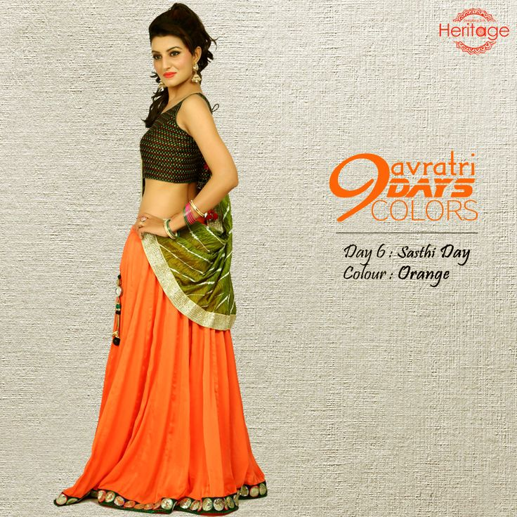 Sparkle as bright as orange following the nine colours of #Navratri theme. Wear the special colour and make your festive moment more special.