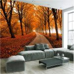 Comfortable Living Room Interior Design With Grey Sofa Set And Autumn Background Decoration