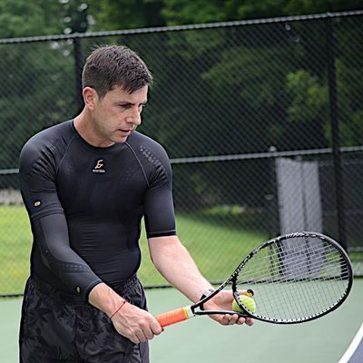 """I have to wear this stuff otherwise I won't be able to get through the day... I feel more energy like I can play for another 8 hours."" – former pro tennis player, Alex Roberman, relies on #Enerskin to regain confidence in his physical performance. #YouRedefined #Tennis #TennisElbow #ElbowSleeve #ElbowPain #CompressionShirt #CompressionSleeves #SportsPerformance #PhysicalTherapy #SportsTraining"