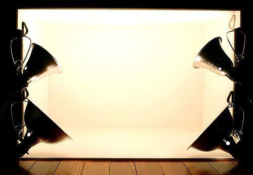 Cheap and Easy DIY light box for photographing objects. Add white posterboard to back for seamless bg