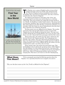 Your student will follow the trials of the Pilgrims in their first year in Plymouth colony and write a paragraph using specific information from the text.