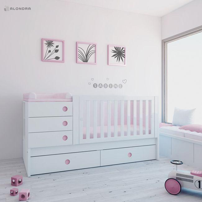 Cuna convertible de bebé en color rosa. Se puede elegir entre cajones o cama nido inferior. Se adapta a las diferentes etapas de crecimiento de tu bebé: 1º cuna, 2º cuna con barandilla junior y 3º habitación juvenil completa. Descubre la colección Orbit de Alondra