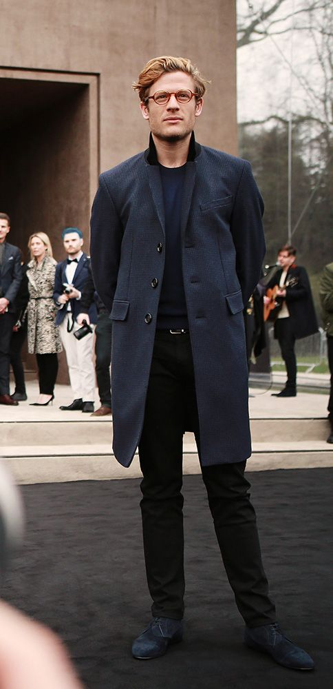 Actor James Norton arrives at the show space in Kensington Gardens wearing opticals from The Scholar Eyewear Collection