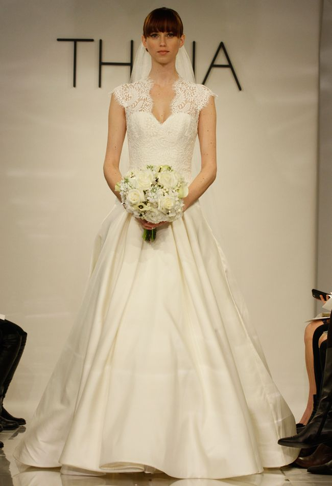 Theia Wedding Dresses Spring 2014; sweetheart neck with lace detailed shoulders; vintage | Milanj Diamonds