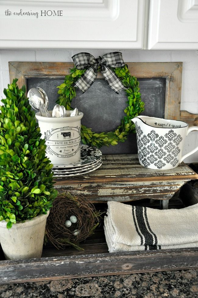 Cottage Farmhouse Style Vignette in the Kitchen Blogs I like Pinterest