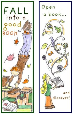 printable bookmarks fall into art and a good book - Printable Books For Kids