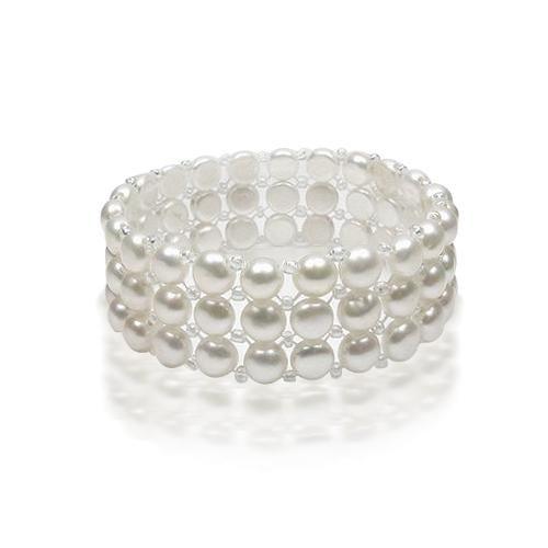 Button Freshwater Pearl Stretch Bracelet
