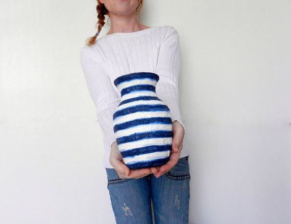 Blue Vase / Navy Blue and White Stripes / by CarriageOakCottage, $24.00