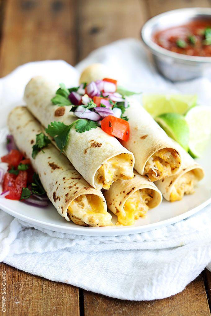 Slow Cooker Cream Cheese Chicken Taquitos - Creme De La Crumb