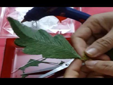 DIY Flowers paper tutorial - making leaf - YouTube