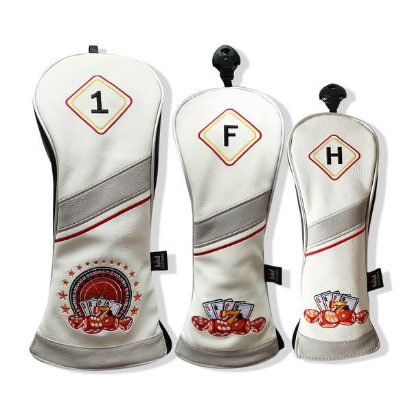 Russian Roulette Game 3-piece Leather Golf Head Cover