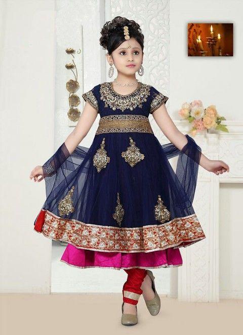Dark Blue Net Readymade Kids Salwar Kameez