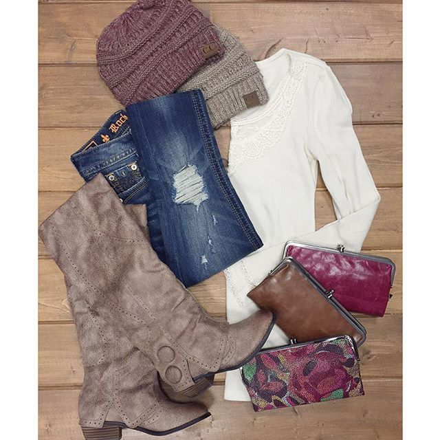 """FALL ESSENTIALS // Multi Knit Beanies $15 Hobo International """"Lauren"""" Clutch {$110 - $128} Rock Revival Distressed Skinny $139 Cream Lace Detail Thermal $38 Not Rated Bailey Boot $69.99  Shop in stores or CALL  to order! WE SHIP! 360.217.7684 Snohomish & 360.716.2982 Tulalip"""