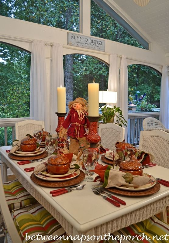 Celebrating the first days of Autumn with this Beautiful Table Setting from Between  Naps on the Porch.