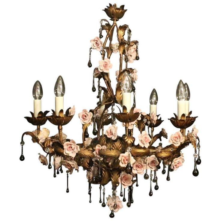 Italian Florentine Eight-Light Antique Chandelier