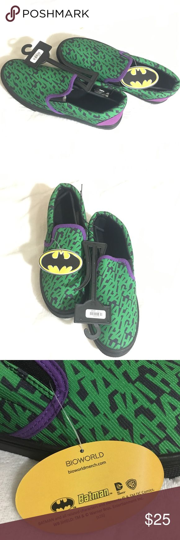 BNWT Batman Joker HaHa Slip On Sneakers Size 7 BNWT Batman Joker HaHa Slip On Sneakers Size 7 Brand New With Tags  Batman Green/Black/Purple Joker themed slip ons Batman Shoes Sneakers