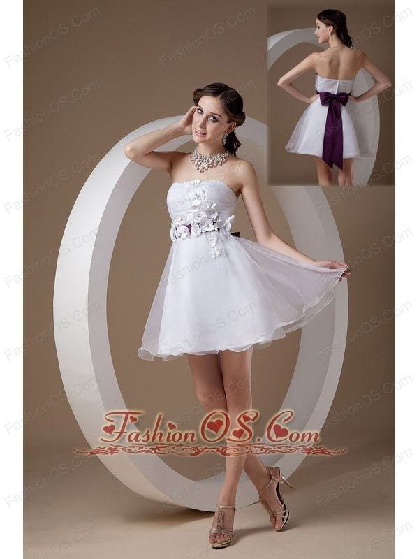 Cool Celebrity Dresses Custom Made White Cocktail Dress A-line Strapless Organza Hand Made Flowers Mini... Check more at http://24store.gq/fashion/celebrity-dresses-custom-made-white-cocktail-dress-a-line-strapless-organza-hand-made-flowers-mini/