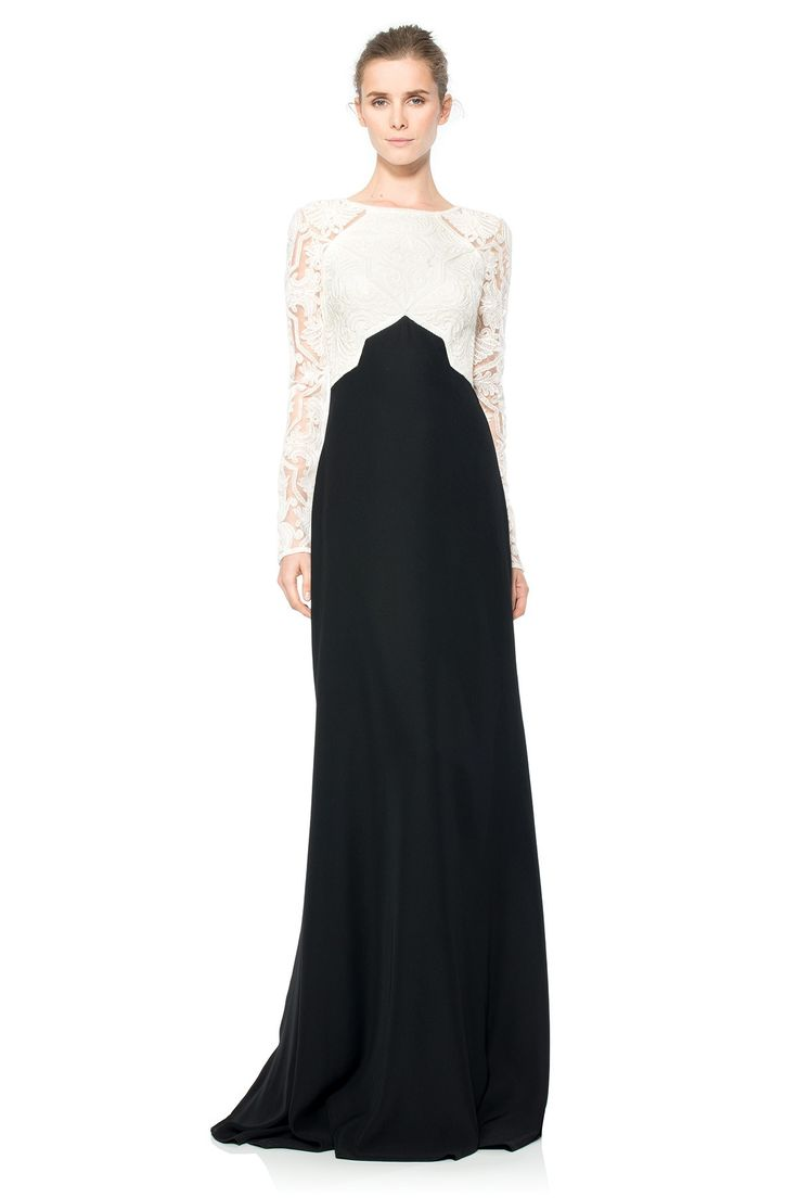 Cotton Embroidered Tulle Colorblocked Gown | Tadashi Shoji