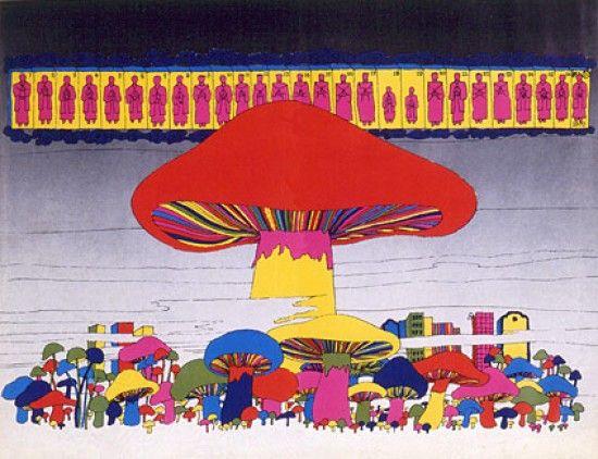 Atomic bomb mushroom art