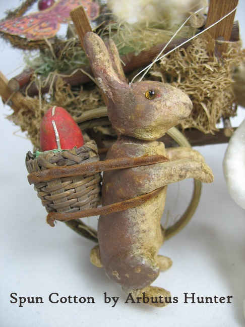 Spun Cotton German Style Easter Rabbit by Arbutus Hunter