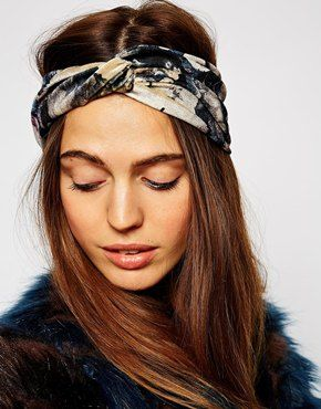ASOS Dark Floral Velvet Turban Headband