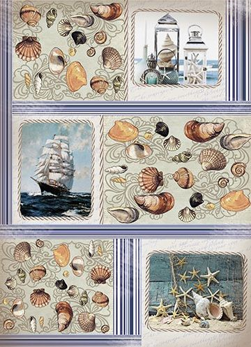"Рисовая бумага ""Морской берег"", артикул: CP06162, формат А3, плотность бумаги 25 гм2."