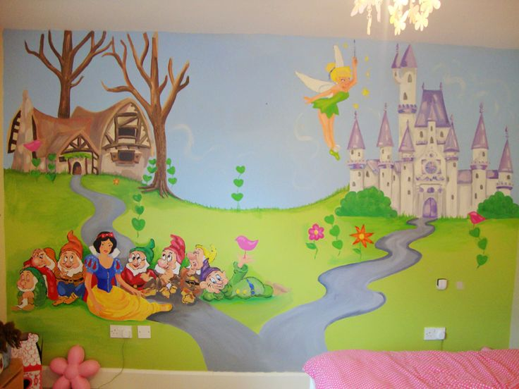 22 best projects to try images on pinterest disney rooms for Disney princess castle mural