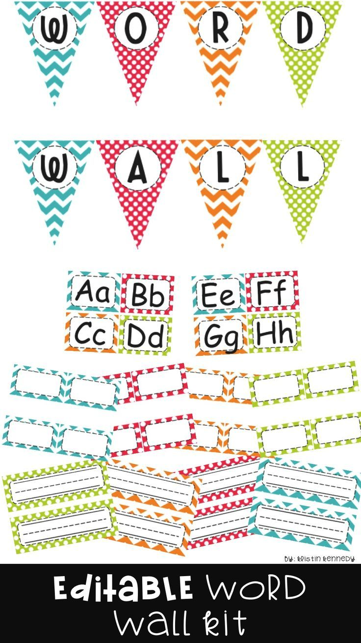 EDITABLE Word Wall Kit for your classroom bulletin board display. Includes letters (headers), word cards, and a pennant banner. Bright chevron and polka dot decor theme. Go back to school in style!