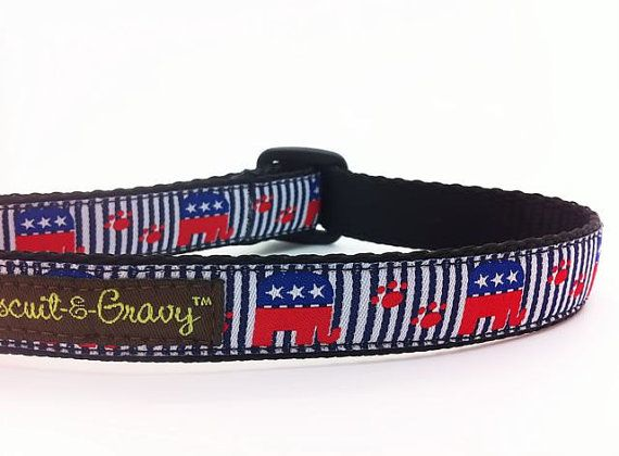 "Dog Collar with Republican Party Political Symbol - 3/4"" and 1"" width - ""Elephant"""