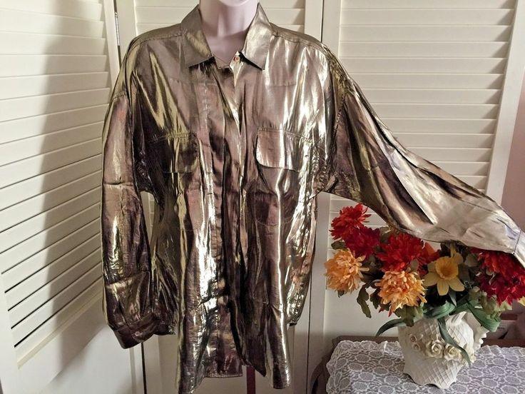vtg 60s 70s STRAWBRIDGE & CLOTHIER Gold Lurex Oversized Tunic Shirt Blouse 8 #StrawbridgeClothier #Blouse