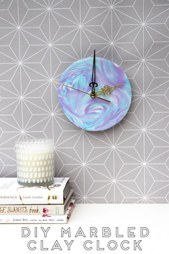 DIY MARBLED POLYMER CLAY CLOCK. #polymercrafts #polymer #crafts #to #sell