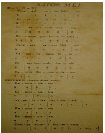 """Gambar 4. Lagu """"Satoe Mei"""" yang dijadikan lagu utama perjuangan buruh tahun 1946. Sumber: Boeroeh, 29 April 1946. Perpustakaan Nasional, Jakarta."""