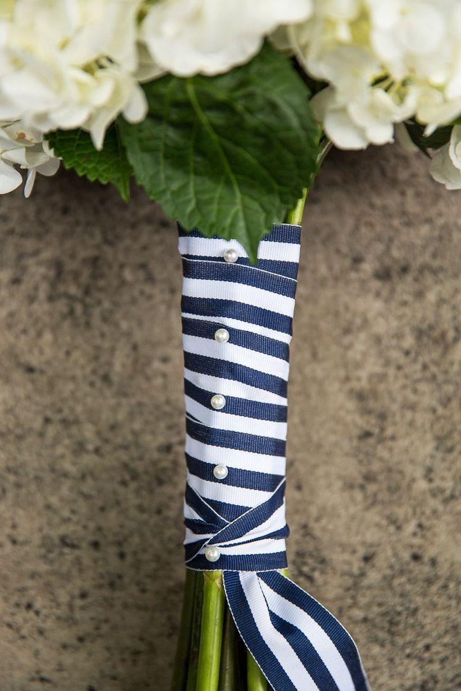 Navy and White ribbon - Bride's bouquet - Nautical themed wedding - Oldani Photography